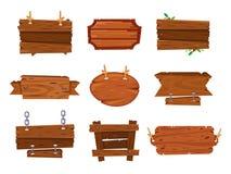 Tekens van de beeldverhaal de houten raad en bruine houten banners De plank van de houtplaat, de raadsteken geïsoleerde kaders va royalty-vrije illustratie