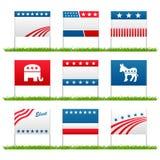 Tekens van de de campagne de politieke werf van de verkiezing Royalty-vrije Stock Foto