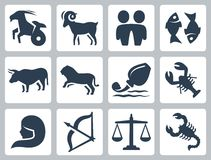Tekens van de dierenriem vectorpictogrammen Stock Afbeeldingen