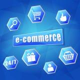 Tekens van elektronische handel en de commerciële Internet in zeshoeken Stock Afbeelding