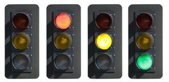 Tekens: Verkeerslicht met Rode, Gele en Groene Lichten Royalty-vrije Stock Fotografie