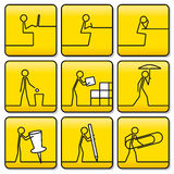 Tekenssymbolen van kleine mensen van zeer eenvoudige lijnen Royalty-vrije Stock Foto's
