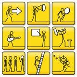 Tekenssymbolen van kleine mensen van zeer eenvoudige lijnen Royalty-vrije Stock Foto