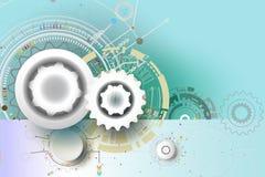 Teknik för teknologikugghjulhjul på blått färgar bakgrund Arkivbilder