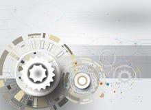 Teknik för teknologikugghjulhjul på grå färgfärg Fotografering för Bildbyråer