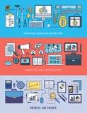 Teknik-, marknadsförings- och affärsbaneruppsättning Arkivbild