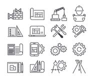 Teknik och den fabriks- vektorsymbolen ställde in i den tunna linjen stil