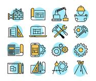 Teknik och den fabriks- vektorsymbolen ställde in i den tunna linjen stil stock illustrationer