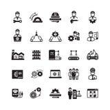 Teknik som tillverkar den industriella vektorsymbolsuppsättningen royaltyfri illustrationer