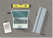 Tekniker arkitekt, byggmästare, arbetararbetstabell Lätt att redigera också vektor för coreldrawillustration stock illustrationer