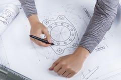 Tekniker-/arkitektarbetsplats royaltyfri foto