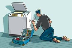 Tekniker i ett kontor royaltyfri illustrationer