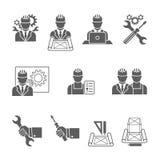 Tekniker Icons Set Royaltyfria Bilder