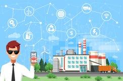 Tekniker och smart fabriksbegrepp Industriell internet av saker Avkännarenätverk royaltyfri illustrationer