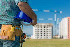 Tekniker på arbete på konstruktionsplats Fotografering för Bildbyråer