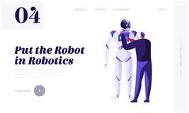 Tekniker Scientists Male Character som programmerar den enorma roboten Robotteknikmaskinvaru- och programvaruteknik konstgjord in royaltyfri illustrationer