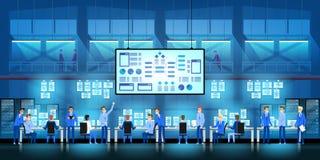 It-teknikerer i stort datorhallarbete på regerings- projekt för ny teknik med serverrum och datorer Royaltyfria Bilder
