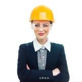 Teknikerkvinna över vit bakgrund royaltyfria bilder