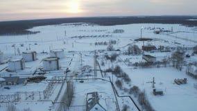 Teknikkomplex för flyg- sikt för att raffinera och leverans på oljefältet arkivfilmer