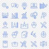 Tekniksymbolsuppsättning 25 vektorsymboler packar royaltyfri illustrationer