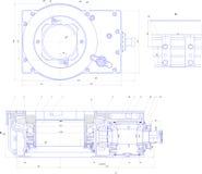 Teknikteckning av industriell utrustning Arkivbild