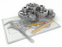 Teknikteckning. Kugghjul, trammel, blyertspenna och utkast. Arkivbilder