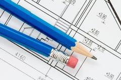 Teknikteckningar med blåa blyertspennor Royaltyfria Foton