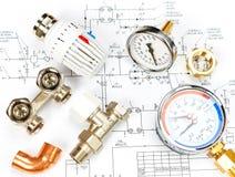 Teknikuppvärmning Begreppsuppvärmning Projekt av uppvärmning för hus Arkivfoto
