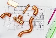 Teknikuppvärmning Begreppsuppvärmning Projekt av uppvärmning för hus Arkivbilder