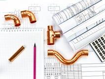Teknikuppvärmning Begreppsuppvärmning Projekt av uppvärmning för hus Royaltyfria Bilder