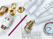 Teknikuppvärmning Begreppsuppvärmning Projekt av uppvärmning för hus Arkivfoton
