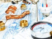 Teknikuppvärmning Begreppsuppvärmning Projekt av uppvärmning för hus Fotografering för Bildbyråer