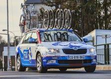 Teknisk bil av laget för FDJ Procycling Arkivbilder