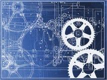 Teknisk bransch för maskin för planillustrationkugghjul på en lutning Arkivfoton