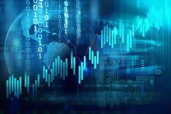 Teknisk finansiell graf på teknologiabstrakt begreppbakgrund Arkivbilder
