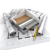Teknisk hem- konstruktion arkivbild
