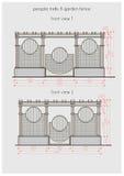 Teknisk teckning av den främre sikten för pergola Royaltyfri Foto