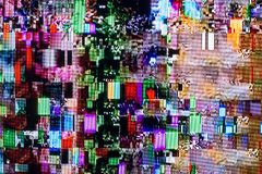 Tekniska fel och störning på den digitala TV:N Royaltyfria Bilder