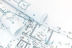 Tekniska och teknikteckningar, golvplan, rullar av archit Arkivbilder
