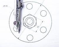 tekniska teckningar Projekt vid blyertspennan på papper teckning för författaredetaljdraw mig hjälpmedel Fotografering för Bildbyråer