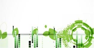 Tekniskt avancerad backgro för begrepp för datateknik för ecogräsplanoändlighet Royaltyfria Bilder