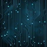 Tekniskt avancerad bakgrund av blått färgar från ett datorbräde med ljusdiod och lysande neonkontaktdon Datorströmkrets En stor e vektor illustrationer