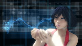 Tekniskt avancerad futuristisk bakgrund med kvinnan vektor illustrationer