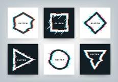 Tekniskt feleffektaffischer Dynamiska geometriformer för Retro futuristisk distorsion, minsta abstrakt bakgrund Glitched vektor vektor illustrationer