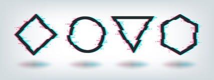 Tekniskt feleffektramar Digital förvriden minsta form, logo för distorsion för tv för sexhörning för cirkeltriangelromb fyrkantig royaltyfri illustrationer