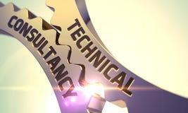 Tekniskt konsulteringbegrepp gears guld- 3d Arkivfoton