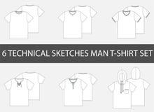 Tekniskt mode 6 skissar av T-tröja för man` s stock illustrationer