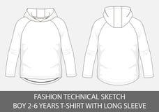 Tekniskt mode skissar för pojke 2-6 år hoody t-skjorta med den långa muffen stock illustrationer