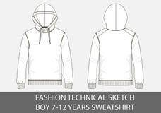 Tekniskt mode skissar för pojke 7-12 år tröja med huven royaltyfri illustrationer