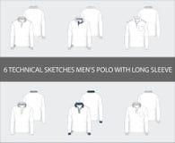 Tekniskt mode skissar uppsättningen av den långa muffen Polo Shirts för man` s vektor illustrationer